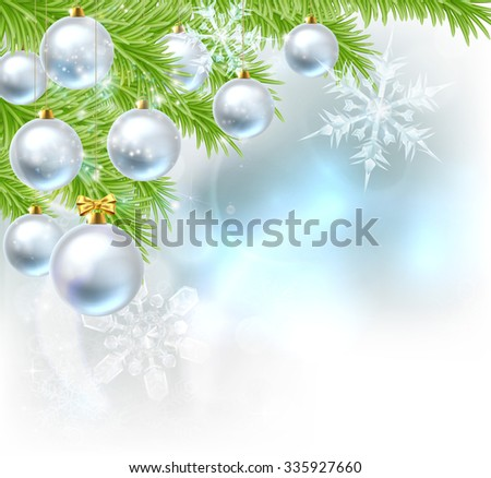 Blue and silver abstract Christmas tree bauble decoration ornaments festive design background with Christmas bauble balls hanging from a Christmas trees branches. - stock photo