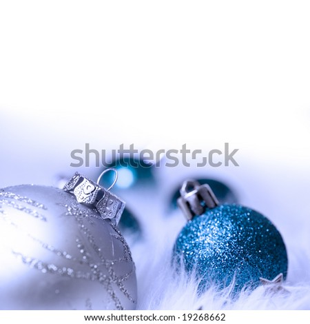 Blue and silver baubles christmas decorations. - stock photo