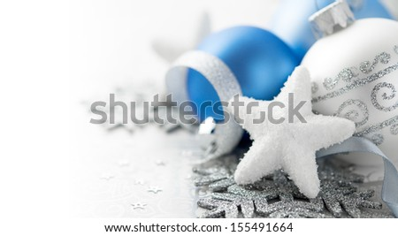 Blue and silver christmas decoration with copy space - stock photo