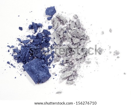 Blue and silver eyeshadow isolated on white background - stock photo