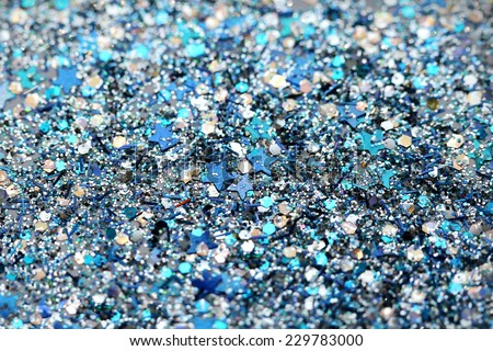 Blue and Silver Frozen Snow Winter Sparkling Stars Glitter background. Holiday, Christmas, New Year abstract texture - stock photo