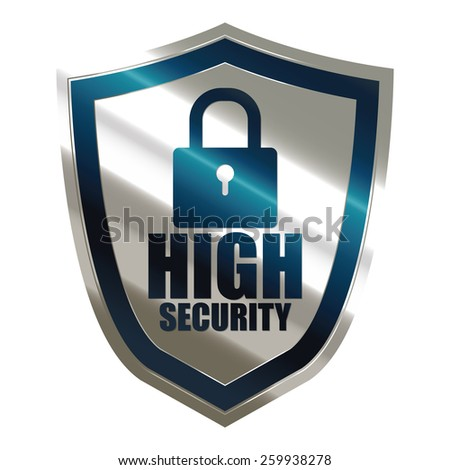 blue and silver metallic high security badge, shield, sticker, sign, stamp, icon, label isolated on white - stock photo