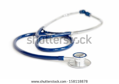 Blue and Silver Stethoscope over White