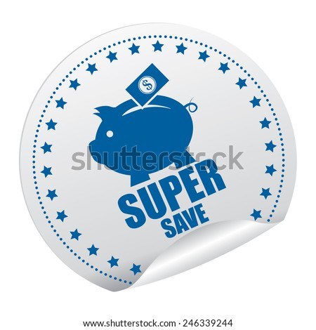 Blue and Silver Super Save Sticker, Icon, Badge, Sign or Label Isolated on White Background  - stock photo
