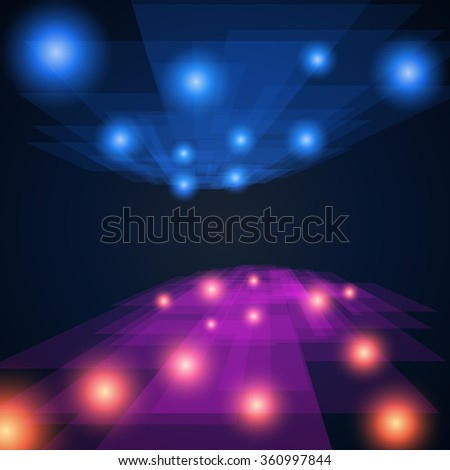 blue and violet rays abstract mosaic perspective background