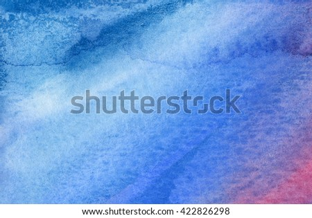 Blue and violet watercolor background. Hand drawn watercolor background.