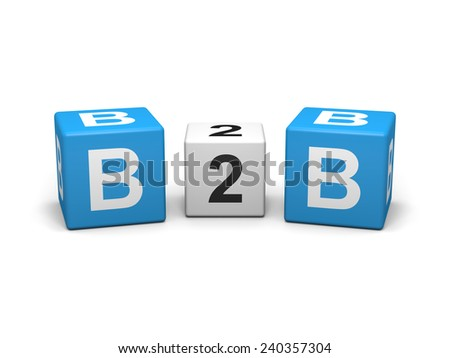 Blue and white b2b cubes on white background - stock photo