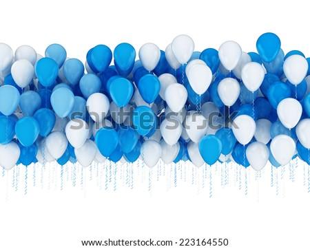 Blue and white balloons celebration background  - stock photo