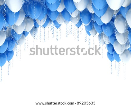 Blue and white balloons isolated on white background - stock photo