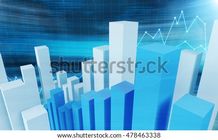 Blue and white bar chart, graph and blurred blue background. Concept of statistics and data gathering. 3d rendering