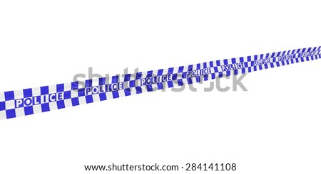 Blue and White Checkered POLICE Tape Line at Angle