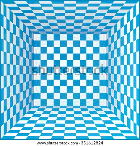 Blue and white chessboard walls room background - stock photo