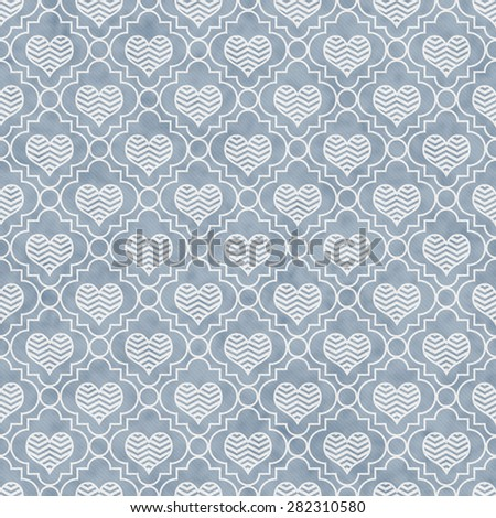 Blue and White Chevron Hearts Tile Pattern Repeat Background that is seamless and repeats - stock photo