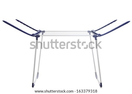 Blue and white clothes drying rack for washed laundry. Isolated on white background, cutout.