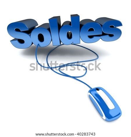 Blue and white 3D illustration of the word soldes connected to a computer mouse