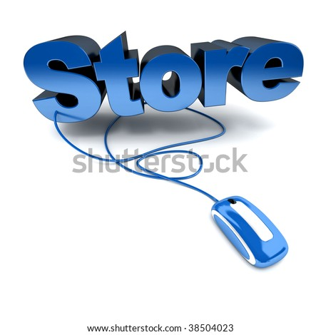 Blue and white 3D illustration of the word store connected to a computer mouse