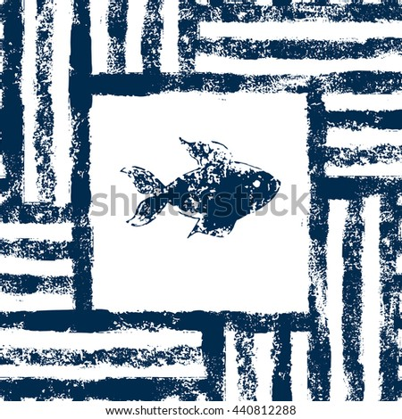 Blue and white fish in a striped frame woven grunge seamless pattern, background - stock photo
