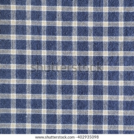 Blue and white gingham tablecloth pattern background texture - stock photo