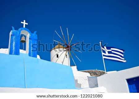 Blue and white Greek labels - stock photo