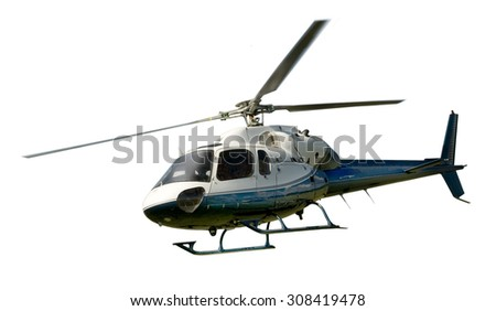 Blue and white helicopter in flight isolated against white background - stock photo