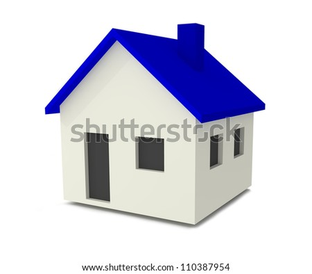 Blue and White House Simple