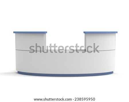 blue and white long double desk or counter from front view.  - stock photo