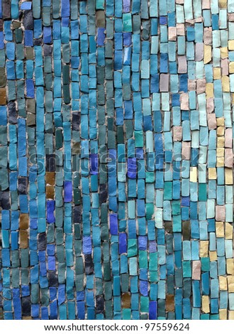 Blue and white mosaic tiles - stock photo