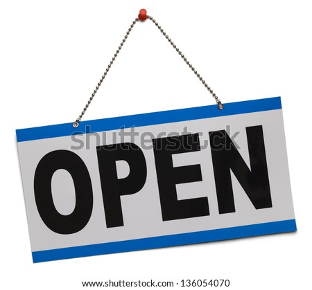 Blue and white open sign hanging on chain isolated on a white background. - stock photo