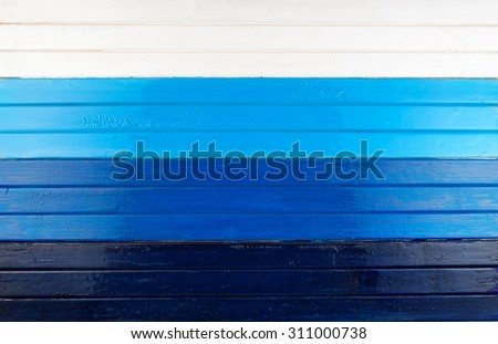 Blue and white  painted wooden planks background. - stock photo