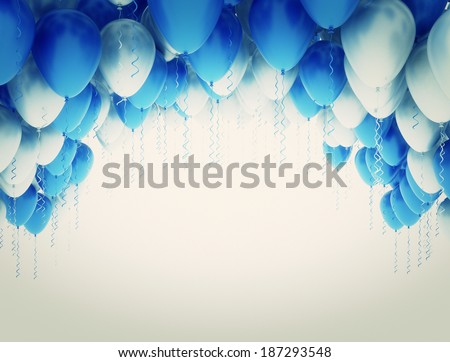 Blue and white party balloons  - stock photo