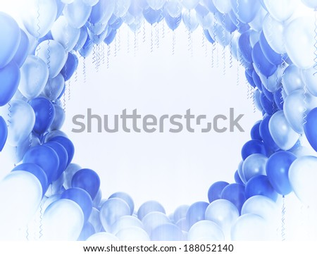 Blue and white party balloons with copy space - stock photo