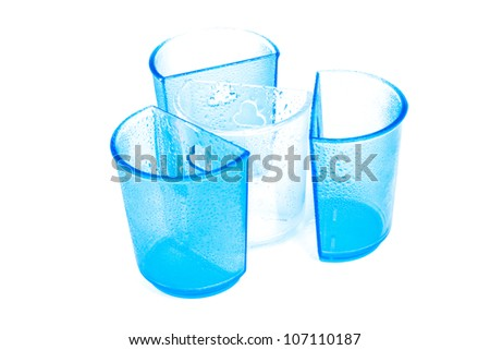 Blue and white plastic cups isolated on white background