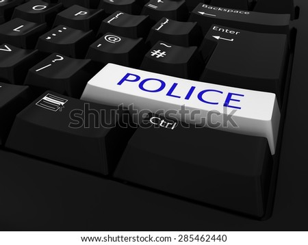 Blue and White POLICE Key Keyboard Background