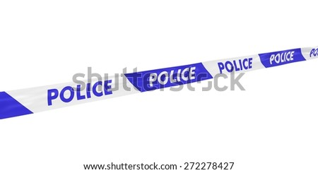 Blue and White Police Tape at Angle