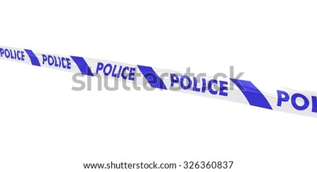 Blue and White Police Tape Line at Angle
