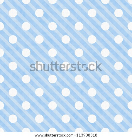 Blue and White Polka Dot Fabric Background  that is seamless and repeats - stock photo