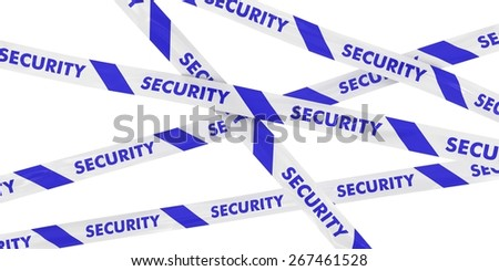 Blue and White Security Barrier Tape Background