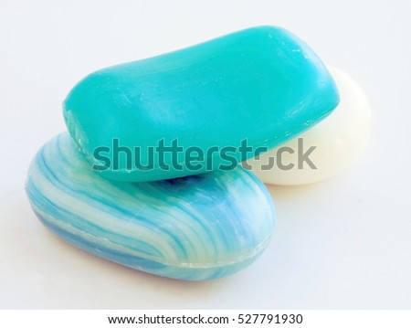 blue and white soap