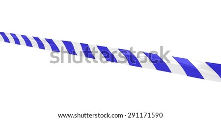 Blue and White Striped Barrier Tape Line at Angle - stock photo