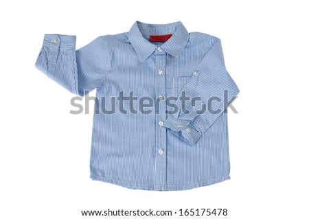 Blue and white striped shirt isolated on white. Clipping path included. - stock photo