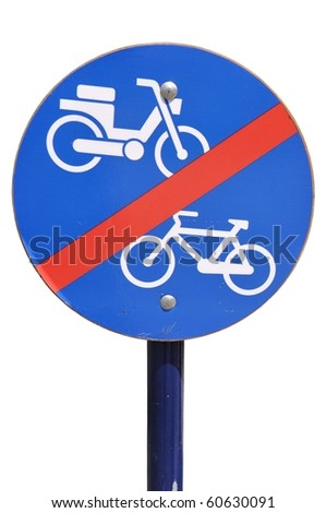 blue and white traffic sign advising no bicycle and no motorcycle (isolated on white background) - stock photo