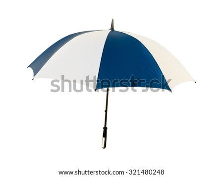 Blue and white umbrella - stock photo