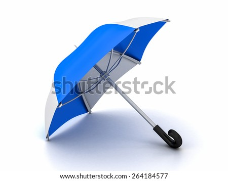 blue and white umbrella on a white background
