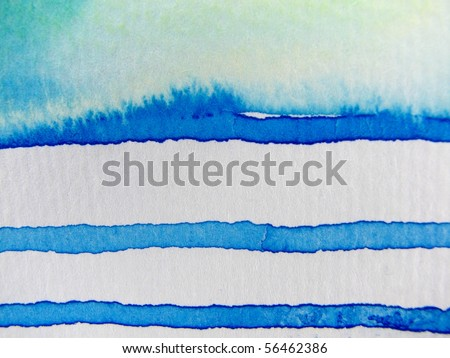 Blue and White Watercolor - stock photo