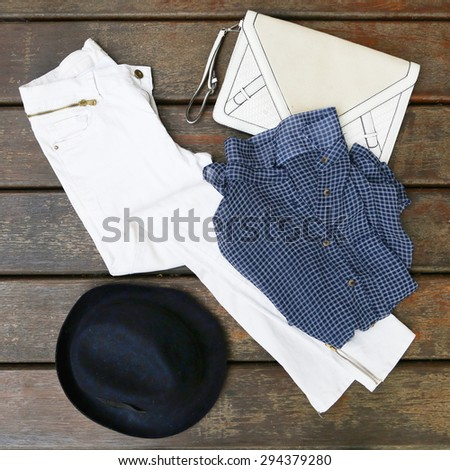 Blue and white women outfit  - stock photo