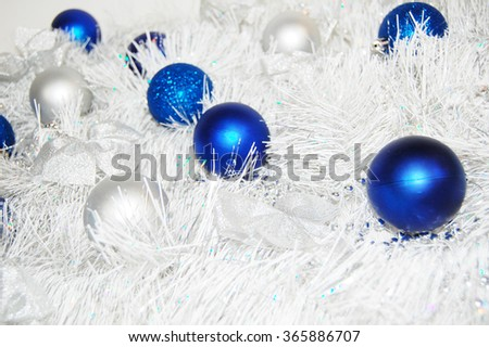 Blue and white xmas ornaments