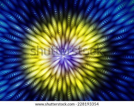 blue and yellow Abstract rays Background  - stock photo