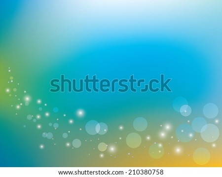 blue and yellow background with bokeh - stock photo