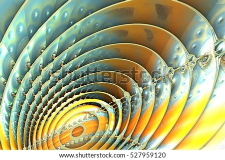 Blue and yellow fractal 3d illustration