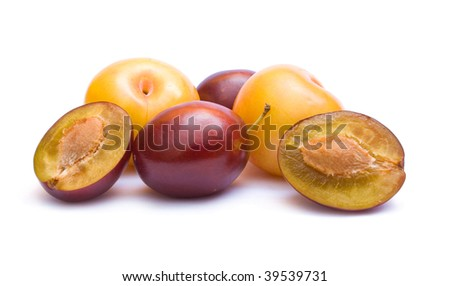 blue and yellow plums